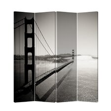 "71"" x 69"" Double Sided Painted Canvas 4 Panel Room Divider"