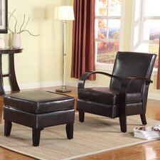 Wonda Bonded Leather Arm Chair with Ottoman