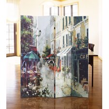 "71"" x 51"" Double Sided Painted Canvas 4 Panel Room Divider"