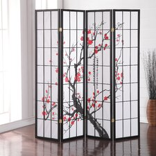 "71"" x 72"" Japanese Plum Blossom 4 Panel Room Divider"