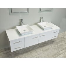 Totti Wave 60-Inch White Modern Double Sink Bathroom Vanity with Counter-Top and Double Sinks