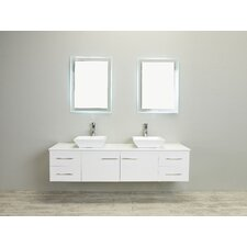 Totti Wave 72-Inch White Modern Double Sink Bathroom Vanity with Counter-Top and Double Sinks