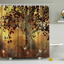 Old Scary Twisted Tree Print Shower Curtain