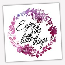 Wreath Quotes 'Enjoy Little Things' Graphic Art on Wrapped Canvas