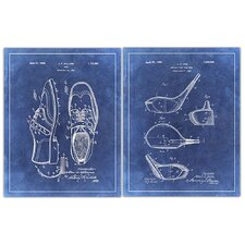 'Golf 1 Patent Drawings' 2 Piece Graphic Art in Blue