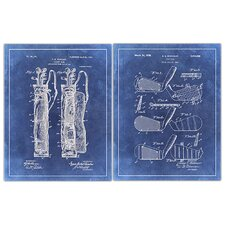 'Golf 2 Patent Drawings' 2 Piece Graphic Art in Blue