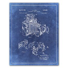'Camera Accessory Patent Drawing' Graphic Art in Blue
