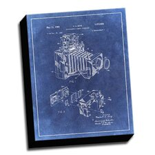 'Camera Accessory Patent Drawing' Graphic Art on Canvas in Blue