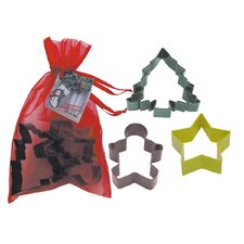 3 Piece Christmas Cookie Cutter Set In Bag
