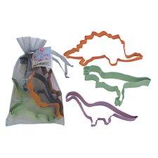 3 Piece Dinosaur Cookie Cutter Set In Bag