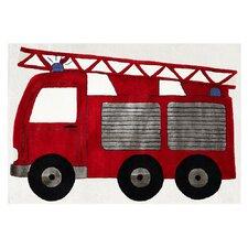 Kinderteppich Feuerwehrauto in Rot