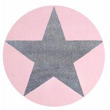 Kinderteppich Star in Rosa / Silbergrau