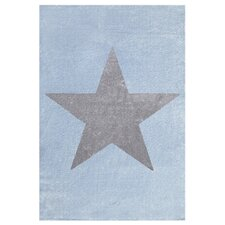 Kinderteppich Star in Silbergrau / Blau