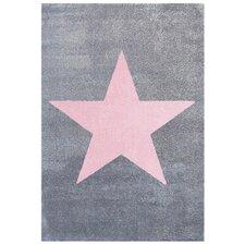 Kinderteppich Star in Silbergrau / Rosa