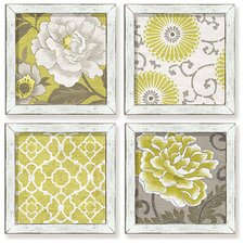 Decorative Yellow & Gray 4 Piece by Suzanne Nicoll Framed Graphic Art Set