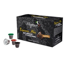 Coffee Pods (Nespresso Compatible) -  from Italy - by Mixpresso (50 Count,  Espresso Mix-Variety)