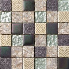 "2"" x 2"" Textured Stone / Glass Hand-Painted Mosaic Tile in 3 Color Blend"