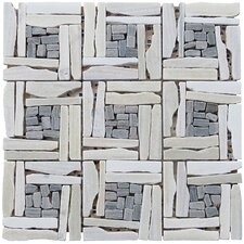 "Landscape Wonder 12.5"" x 12.5"" Quartzite Basketweave Natural Stone Blend Mosaic Tile in White and Gray"