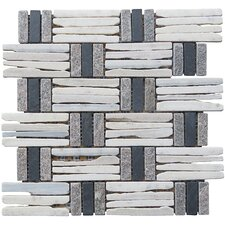 "Landscape Wonder 12.5"" x 12.5"" Quartzite Basketweave Natural Stone Blend Mosaic Tile in Gray, White and Black"