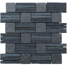 "Landscape Wonder 12.5"" x 12.5"" Basketweave Natural Stone Mosaic Tile in Black and Gray"