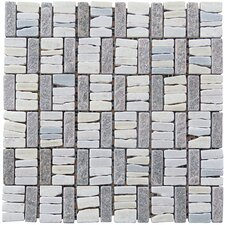 "Landscape Wonder 12"" x 12"" Quartzite Basketweave Natural Stone Blend Mosaic Tile in White and Gray"