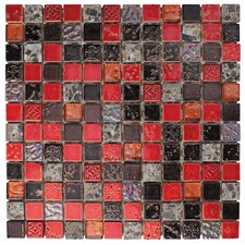 "1"" x 1"" Stone / Glass Mosaic Tile in 3 Color Blend"