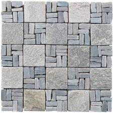 "Landscape Wonder 2"" x 2"" Stone Mosaic Tile in Gray"
