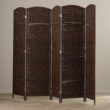 "Jaya 71""x 80"" Tall Diamond Weave Fiber 5 Panel Room Divider"