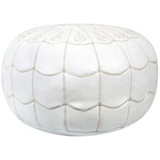 Mouassine Scalloped Leather Pouf Ottoman