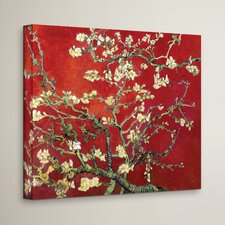 'Interpretation Blossoming Almond Tree' by Vincent Van Gogh Painting Print on Wrapped Canvas in Red and Gold