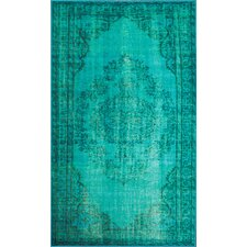 Xavier Machine Woven Turquoise Area Rug