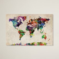 'Urban Watercolor World Map' by Michael Tompsett Graphic Print on Canvas