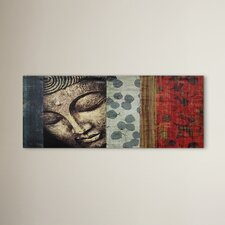Peeking Buddha Statue Painting Print on Wrapped Canvas