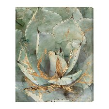 Golden Succulent Graphic Art on Wrapped Canvas