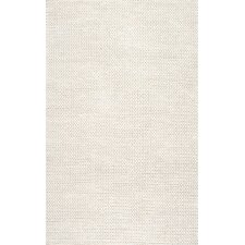 Zayan Meika Ivory Chunky Wool Cable Area Rug