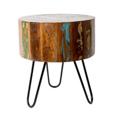 Breazeale Round Reclaimed Wood and Iron Stool