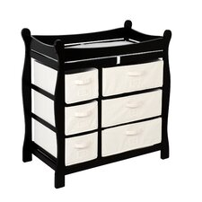 Shannon Sleigh Style Baby Changing Table with 6 Baskets
