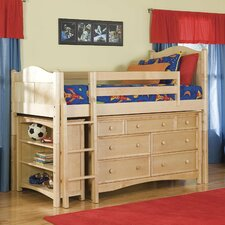 David Twin Low Loft Bed with Bookcase and Wakefield Dresser