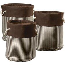 3 Piece Nesting Round Basket & Hamper Set
