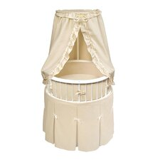 Marisol White Bassinet with Sage Waffle Bedding