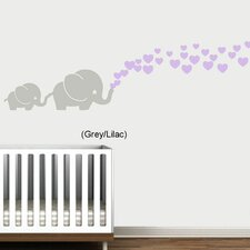 Maddie Elephants with Colored Heart Bubbles Wall Decal