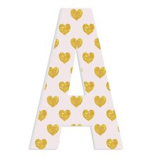 Arlot Pink with Gold Hearts Oversized Hanging Initials