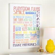 Peyton Rainbow Playroom Rules Smile Textured Canvas Art