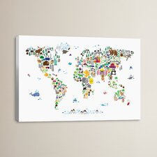 Animal Map of the World by Michael Thompsett Graphic Art on Canvas