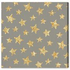 Neal Gold Stars Pattern Canvas Art