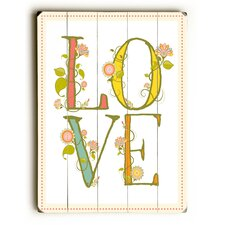Love with Flowers Wooden Wall Décor