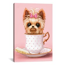 Yorkie in a Teacup Graphic Art on Wrapped Canvas