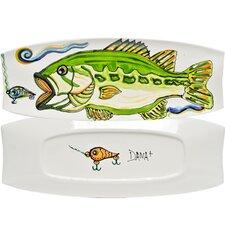 Dana Wittmann Fins Bass Handpainted Ceramic Rectangular Tray