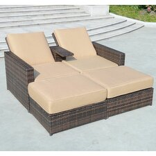 4 Piece Double Chaise Lounge with Cushion