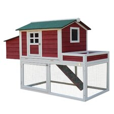 Farmhouse Chicken Coop with Run Area and Nesting Box